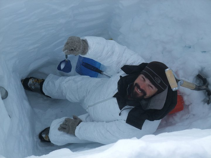 Me collecting snow pit samples on Hunter
